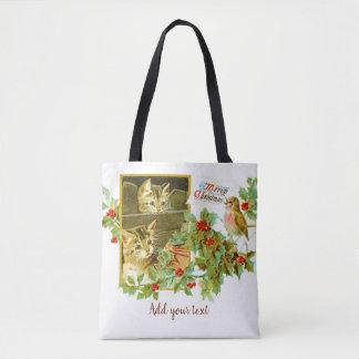 Bolsa Tote Gatinhos bonitos e natal vintage bonito do pisco
