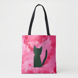 Bolsa Tote Gato cor-de-rosa do gatinho do preto do abstrato
