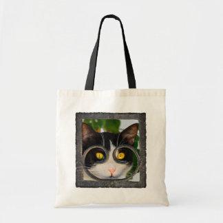 Bolsa Tote Gato curioso com a foto engraçada do animal de