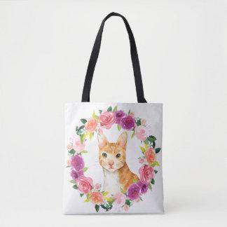 Bolsa Tote Gato de gato malhado alaranjado com a sacola