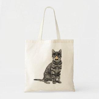 Bolsa Tote Gato de gato malhado cinzento com vidros
