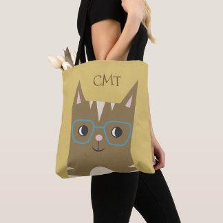 Bolsa Tote Gato de gato malhado com monograma dos vidros |