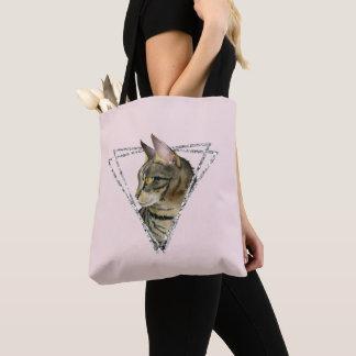 Bolsa Tote Gato de gato malhado com quadro do brilho da prata