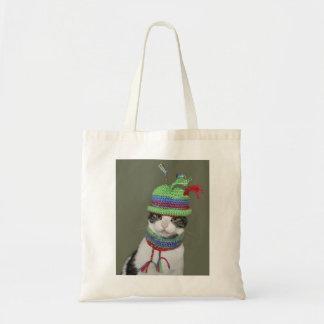 Bolsa Tote Gato de gato malhado preto e branco no chapéu e no