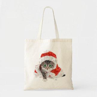 Bolsa Tote gato de Papai Noel - colagem do gato - gatinho -