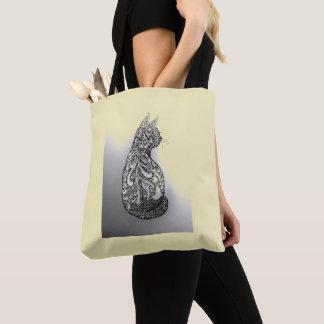 Bolsa Tote Gato decorativo preto e branco original desenhado