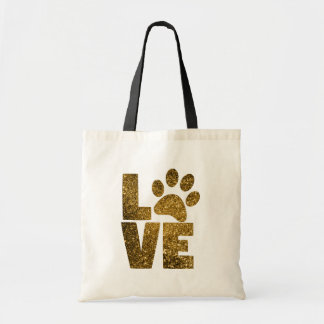 Bolsa Tote Gato do brilho do ouro/cão Pawprint