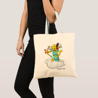 Bolsa Tote Gato do Cupido do amarelo do gengibre do dia dos