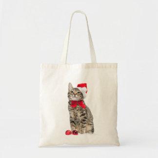 Bolsa Tote Gato do Natal - gato de Papai Noel - gatinho
