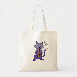 Bolsa Tote Gato dos desenhos animados que joga a flauta