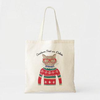 Bolsa Tote Gato engraçado que veste o costume feio da