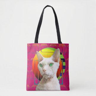 Bolsa Tote Gato louco cor-de-rosa de Sphynx do design do gato