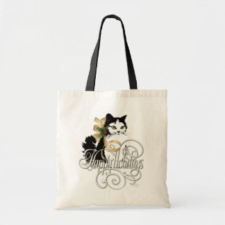 Bolsa Tote Gato preto & branco do feriado