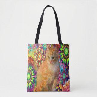 Bolsa Tote Gato psicadélico Totebag, gato da tintura do laço