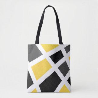 Bolsa Tote Geométrico branco preto cinzento amarelo