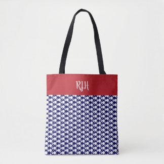 Bolsa Tote Geométrico monogrammed chique em azul & em branco,