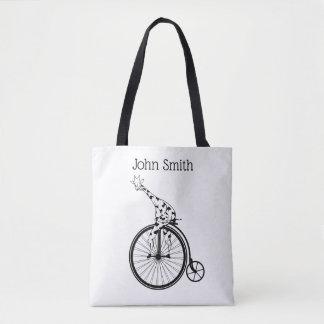 Bolsa Tote Girafa preto e branco que monta uma bicicleta