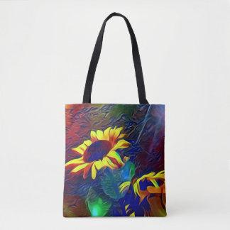 Bolsa Tote Girassóis artísticos vibrantes bonito