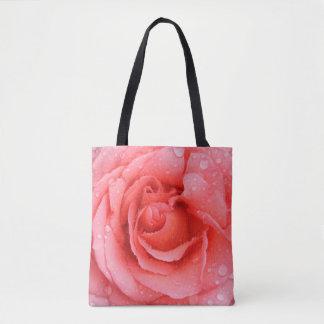 Bolsa Tote Gotas cor-de-rosa vermelhas românticas da água