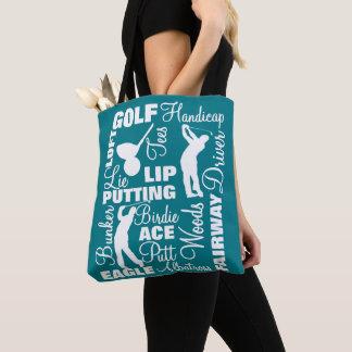 Bolsa Tote Gráfico do texto da terminologia do golfe dos