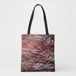 Bolsa Tote Grama preto e branco Tangled no vento no vermelho