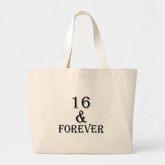 Bolsa Tote Grande 16 e para sempre design do aniversário