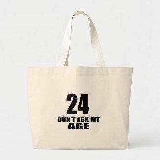 Bolsa Tote Grande 24 não peça meu design do aniversário da idade