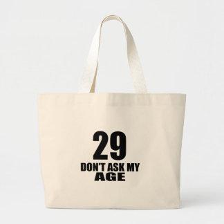 Bolsa Tote Grande 29 não peça meu design do aniversário da idade