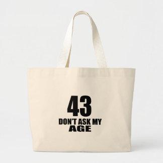 Bolsa Tote Grande 43 não peça meu design do aniversário da idade