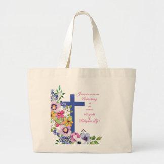 Bolsa Tote Grande 60th Aniversário, freira, cruz religiosa da vida