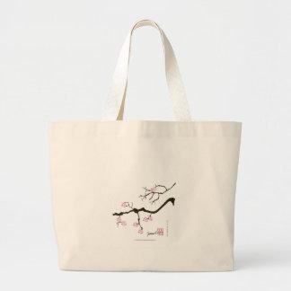 Bolsa Tote Grande 7 flores com pássaro cor-de-rosa, fernandes tony