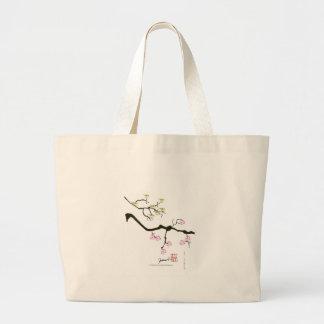 Bolsa Tote Grande 7 flores de sakura com 7 pássaros, fernandes tony