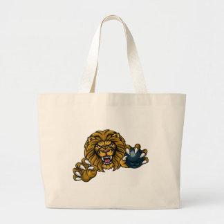 Bolsa Tote Grande A bola de boliche do leão ostenta a mascote