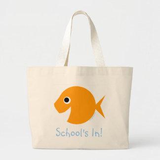 Bolsa Tote Grande A escola está no professor bonito Bookbag do peixe