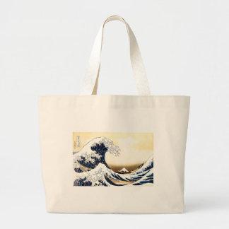 Bolsa Tote Grande A grande onda fora de Kanagawa