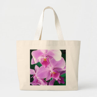 Bolsa Tote Grande A orquídea floresce close up no rosa
