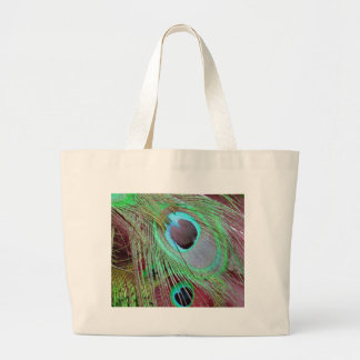Bolsa Tote Grande A pena de fluxo do pavão dos olhos azuis
