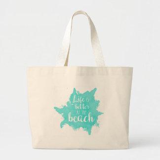 Bolsa Tote Grande A vida é melhor na praia