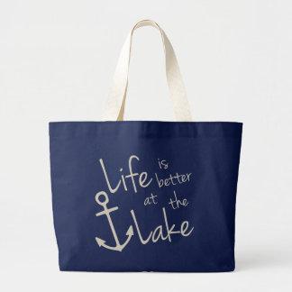 Bolsa Tote Grande a vida é melhor no lago
