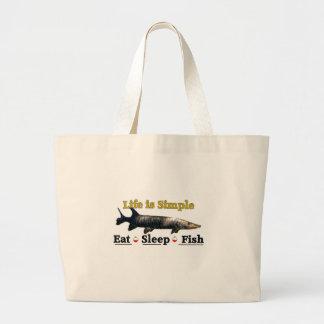Bolsa Tote Grande A vida é simples come peixes do sono