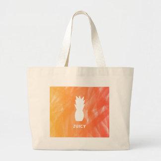 Bolsa Tote Grande Abacaxi da aguarela - laranja/vermelho