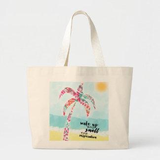 Bolsa Tote Grande acorde e cheire a inspiração, a praia e a palma