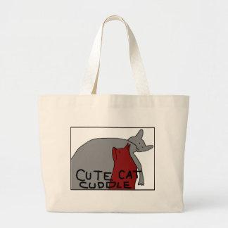 Bolsa Tote Grande Afago bonito do gato