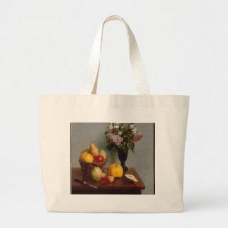 Bolsa Tote Grande Ainda vida com flores e fruta