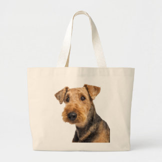Bolsa Tote Grande Airedale Terrier Brown & amor preto do cão de