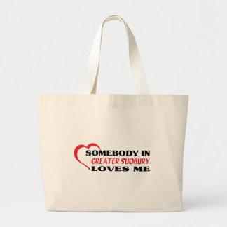 Bolsa Tote Grande Alguém em maior Sudbury ama-me