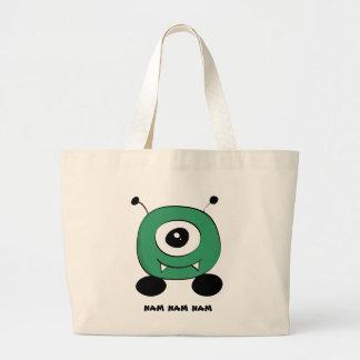 Bolsa Tote Grande Alienígena verde engraçada bonito
