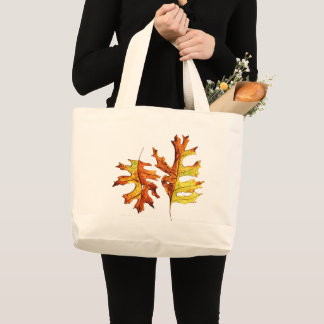 Bolsa Tote Grande Amante da tinta e de natureza das folhas de outono