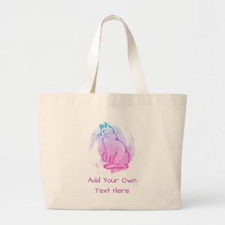 Bolsa Tote Grande Amante do gato - design colorido com seu texto