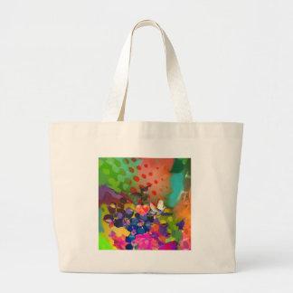 Bolsa Tote Grande Amor da natureza com fundo multicolorido
